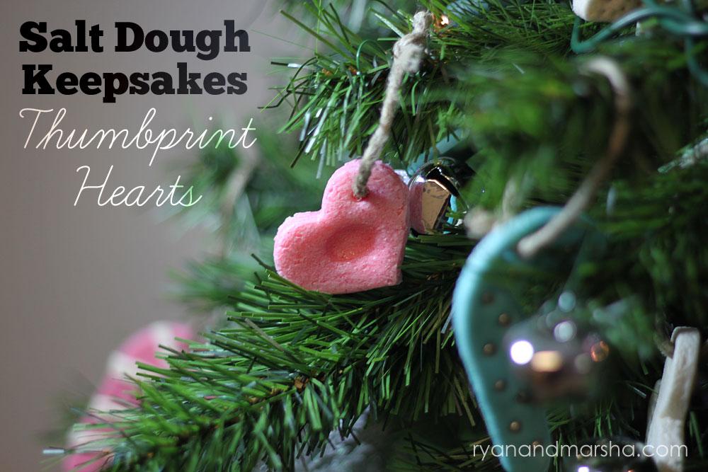 Salt Dough Keepsakes Thumbprint Hearts