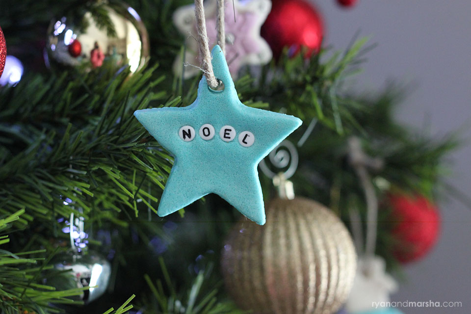 NOEL Star: I used blue salt dough and a star cookie cutter. I used letter beads to make the word NOEL.