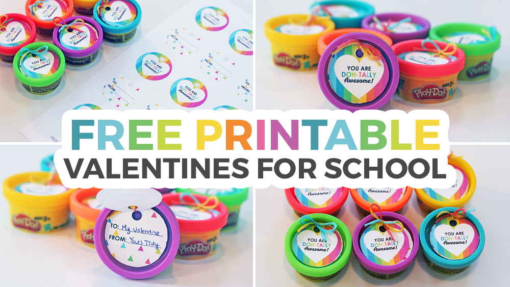 picture relating to Play Dough Valentine Printable called Perform-Doh Valentines for Faculty + Cost-free Printable