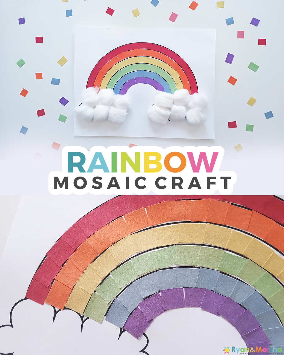 Rainbow Mosaic Construction Paper Crafts For Kids Day 3